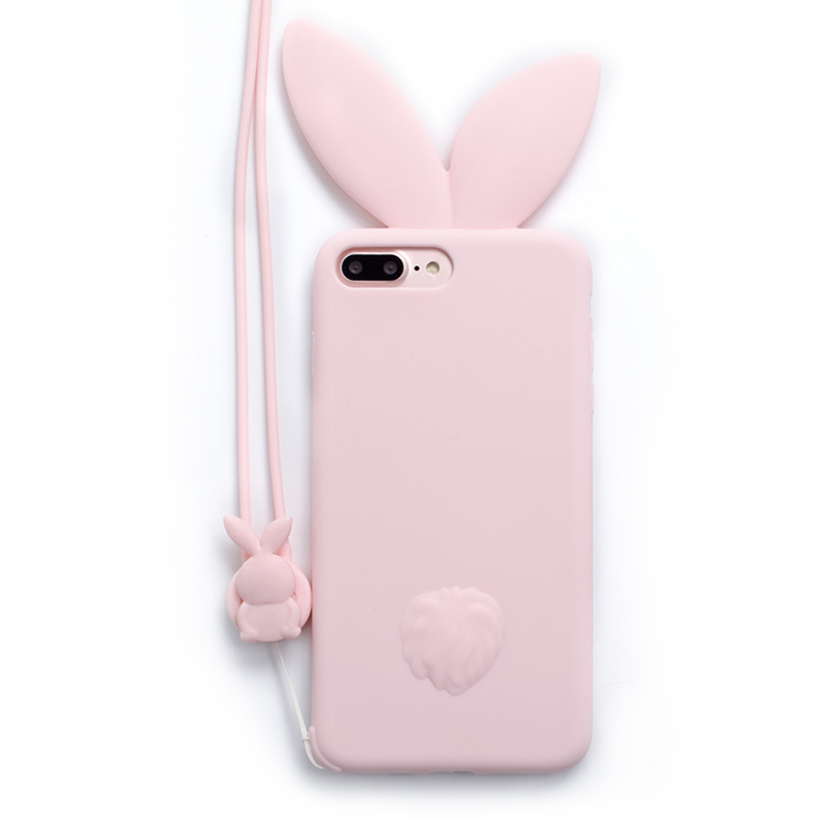 New Cute Bunny pink Rabbit Ears with rabbit strap soft Silicon phone case Back Cover For Apple iPhone 6 6s plus 7 7plus Capa silicona fundas para iphone 8 plus