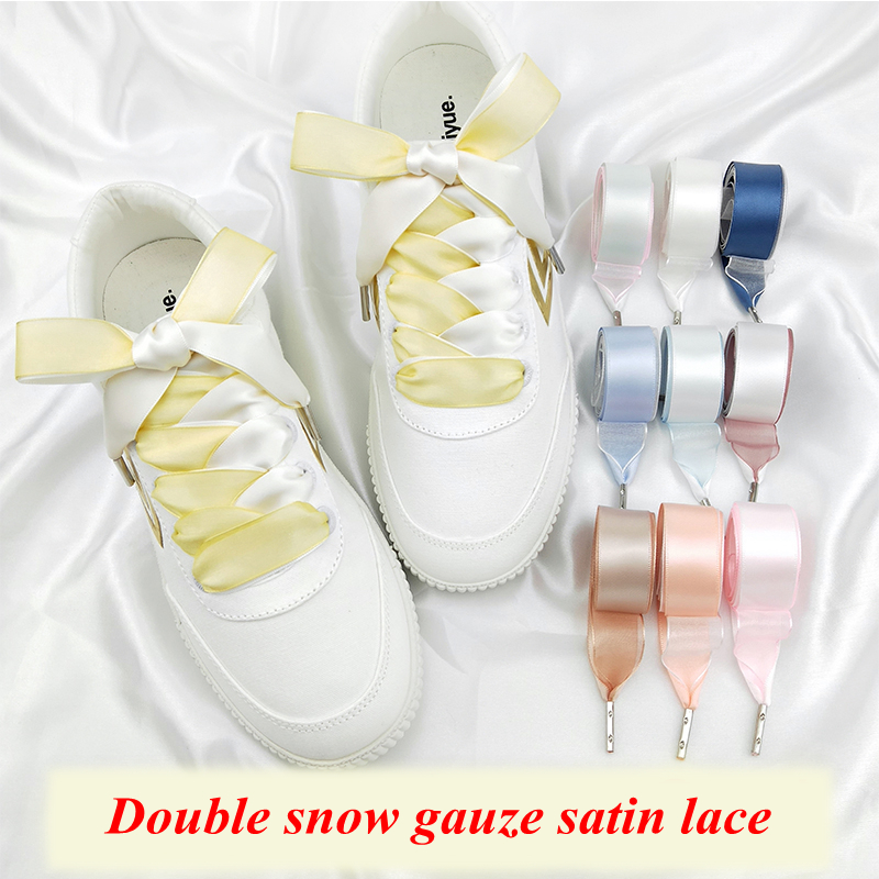 1Pair Double-faced Snow Yarn Satin Silk Ribbon Shoelaces Fashion Shoe Lace Sneakers Shoe Laces 2CM Width 80/100/120cm Length floral print cut out cross back tie up swimwear