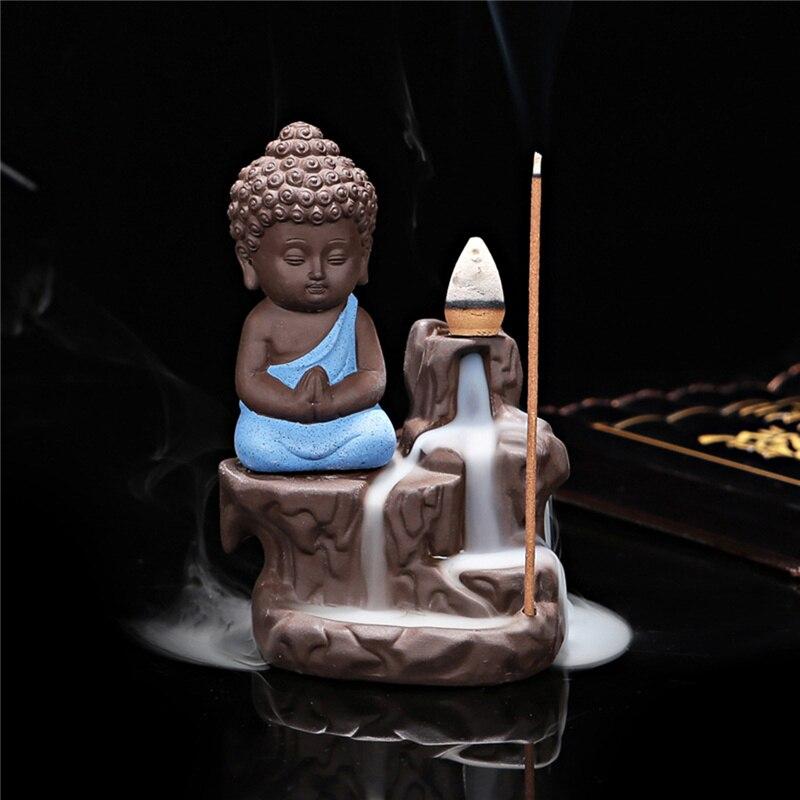 Китайский стиль Будда керамическая Курильница держатель набор с joss палочки домашний Декор Гостиная Спальня украшение офиса - Цвет: sky blue