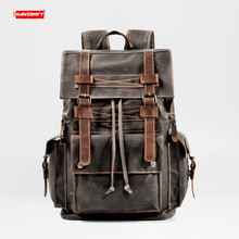 قماش بتصميم قديم للرجال حقيبة ظهر للسفر أدوات قاطرة حقيبة حاسوب أوروبا والولايات المتحدة سعة كبيرة جلد
