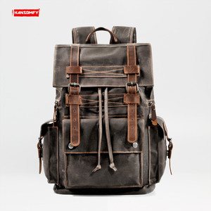 Image 1 - Retro Canvas Mens Backpack Travel Backpacks Tooling Locomotive Computer Bag Europe and The United States Large Capacity Leather