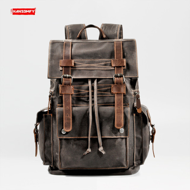 Retro Canvas Mens Backpack Travel Backpacks Tooling Locomotive Computer Bag Europe and The United States Large Capacity Leather