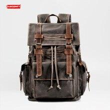 Retro lona mochila de viagem mochilas com ferramentas locomotiva saco computador europa e os estados unidos grande capacidade couro