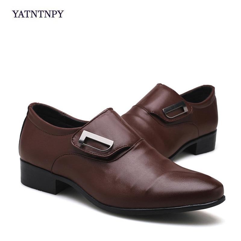 Casual Élégant Yatntnpy Black Formelle Grande Chaussures brown Boucle Partie Mariage Cuir De 38 Robe Point 48 Taille Hommes Véritable Sangle 1ddUr