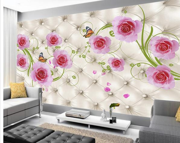 wall sticker elegant soft pink flowers bag wallpaper mural