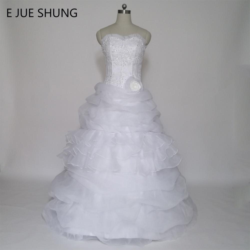E JUE SHUNG Baltais Organza mežģīņu aplikācijas Ball Gown Noņemams vilciens Divi gabali Kāzu kleitas 2 In 1 Kleita vestido de noiva