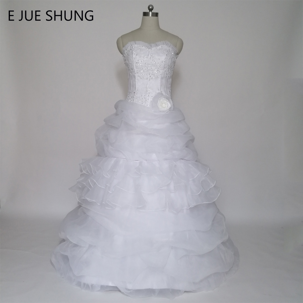 E JUE SHUNG Bela Organza čipke Aparati Ball Obleka snemljiv vlak Dva kosa Poroka Obleke 2 In 1 Obleka vestido de noiva