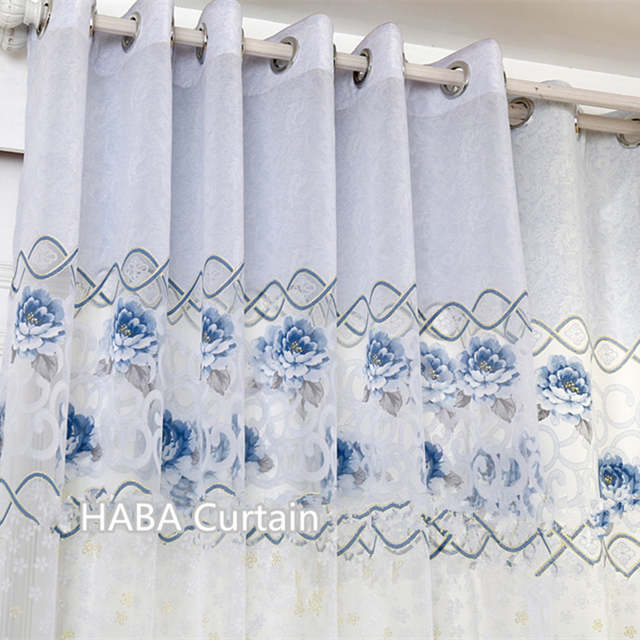 Classic Blue Window Curtains For Bedroom Kitchen Door Blackout