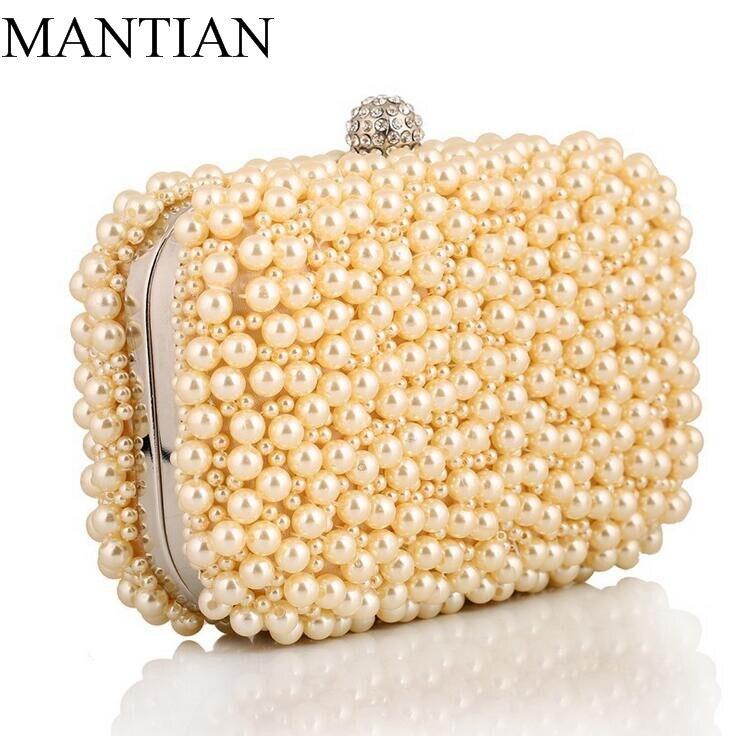 Estilo europeo de diamantes de las mujeres bolsos de noche con cuentas de perlas