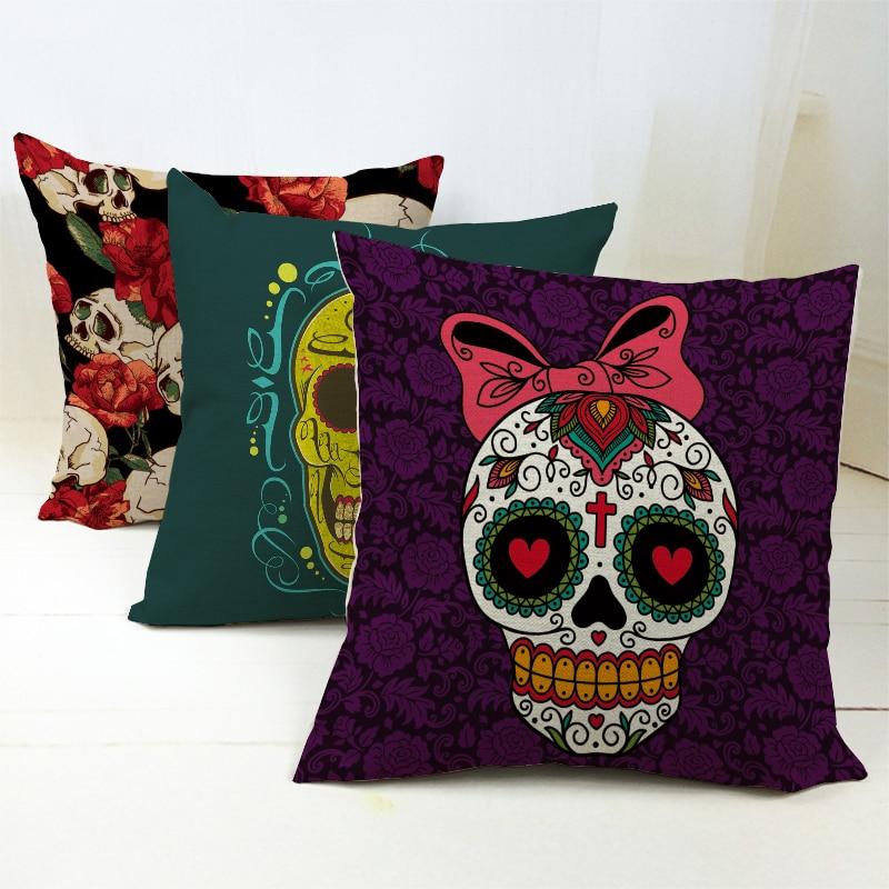 New Pillowcase Halloween Skull Cushion Cover Cotton Linen Printed Throw Pillows Decorative Cojines Housse De Coussin