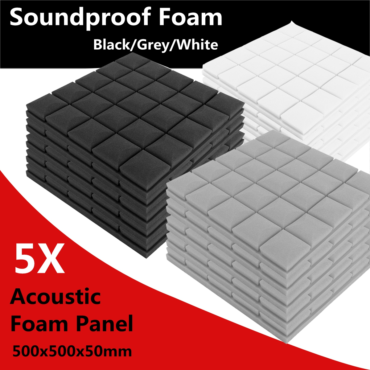 500x500x50mm Soundproof Foam Acoustic Sound Stop Absorption Sponge Drum Room Accessories sound absorption coefficient analysis