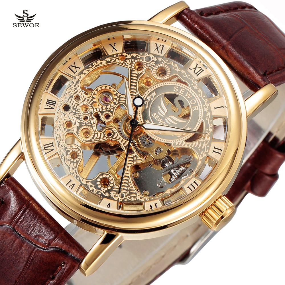 New SEWOR Luxury Brand Gold Transparent Skeleton Watch Men Mechanical Hand Wind Wristwatch Male Fashion Leather Band Wristwatch купить недорого в Москве