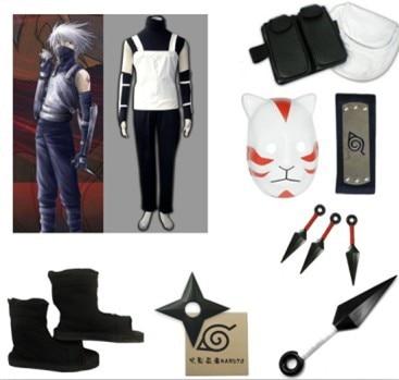 Naruto Shippuden Shippuden Kakashi Anbu 1er traje de cosplay Conjunto - Disfraces