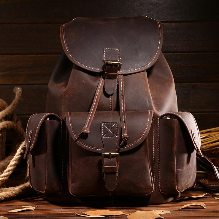 stacy bag 092216 new hot women vintage style leather backpack female fashion travel bag