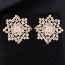 SisCathy Fashion Brand Jewelry Crystal CZ Stud Earrings for Women Charm Statement Earings Oorbellen