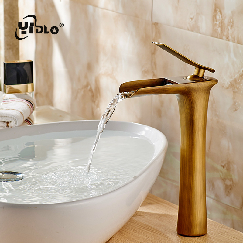 Basin Faucets Bathroom Waterfall Single handle Basin Taps Drawing Chrome Tap Bathroom Accessories Single handle Mixer Faucet A17 in Basin Faucets from Home Improvement