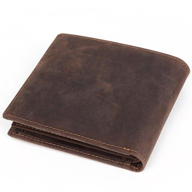 756ee3c0a0 Tiding Full Grain Leather Wallets Mens Short Wallet Simple Bifold Wallet  with Coin Pocket Dark Brown