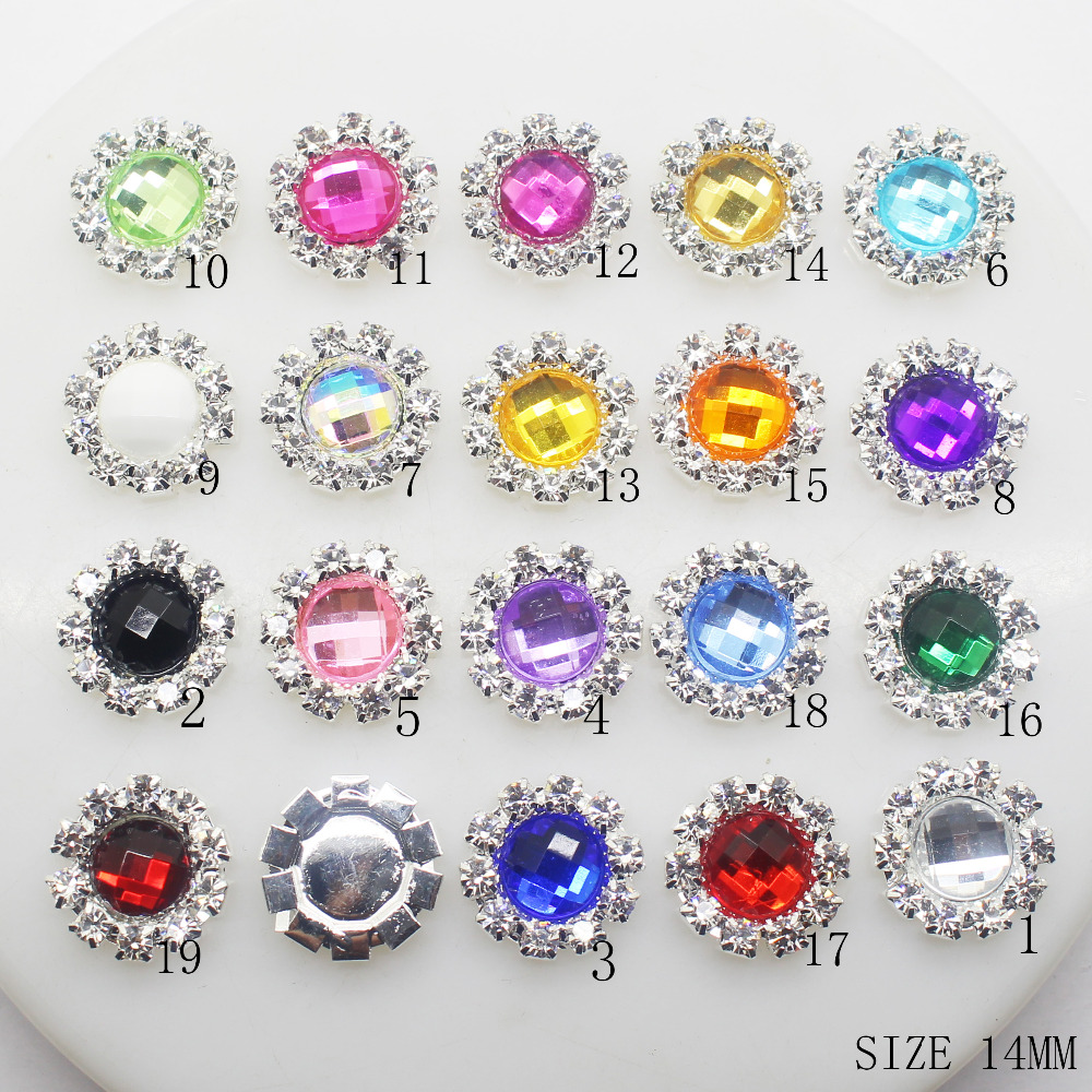 (Kan specificere farven) 10 stk 14MM Akryl Rhinestone Buttons DIY Diamond Button Invitation Gail Hair Bowknot Blomster Tilbehør