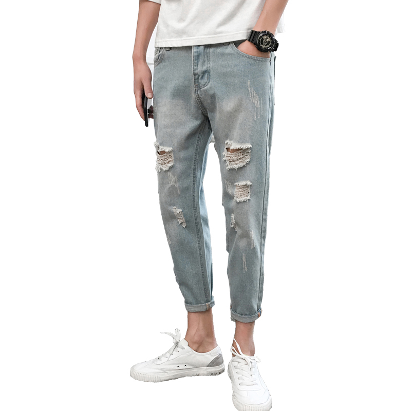 2018 New Men Fashion Classic Blue Holes Bound Feet Casual Cowboy Pants Stretch Slim Fit Jeans Homme Denim Tapered Trousers 27-34