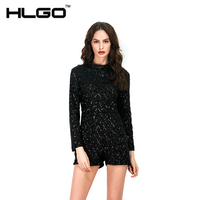Summer Spring Sexy Playsuit Sequin Mesh High Neck For Women Rompers Outfits Short Sleeve Black Gold