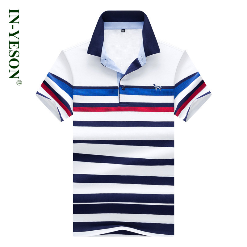 IN-YESON Brand Polo Men fashion Italy Style high quality Summer cotton turn-down collar slim fit solid striped polo shirt men