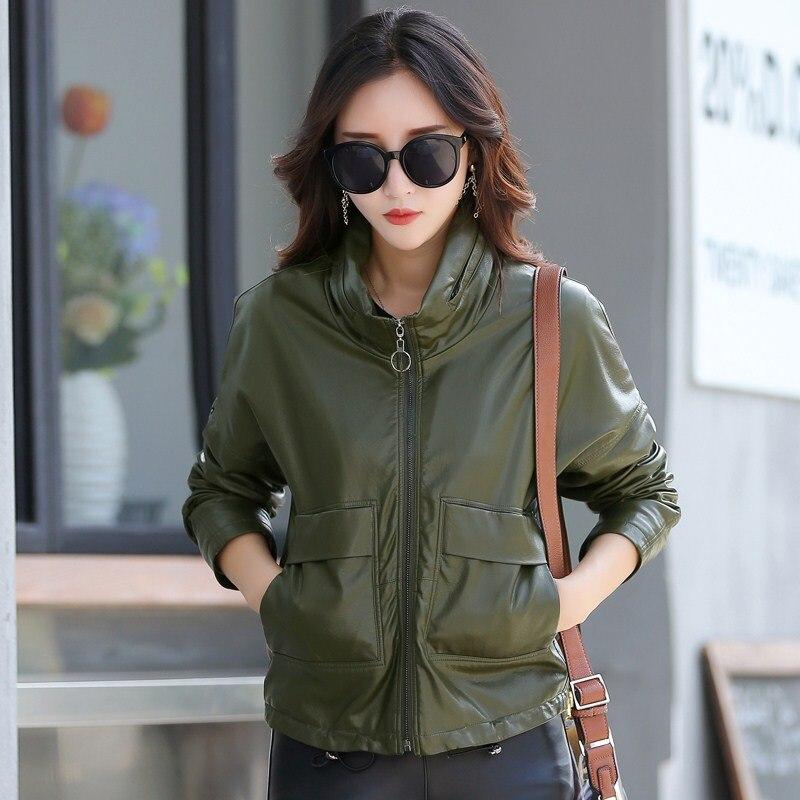leather   jacket women short design slim Baseball uniform Hide Hoodies vintage casual   leather   jackets coats K6721