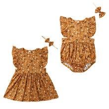 Детский комбинезон с цветочным принтом для маленьких сестер, боди, вечерние платья, летние одинаковые комплекты для семьи
