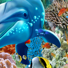 Underwater World Dolphin 3D floor painting mural