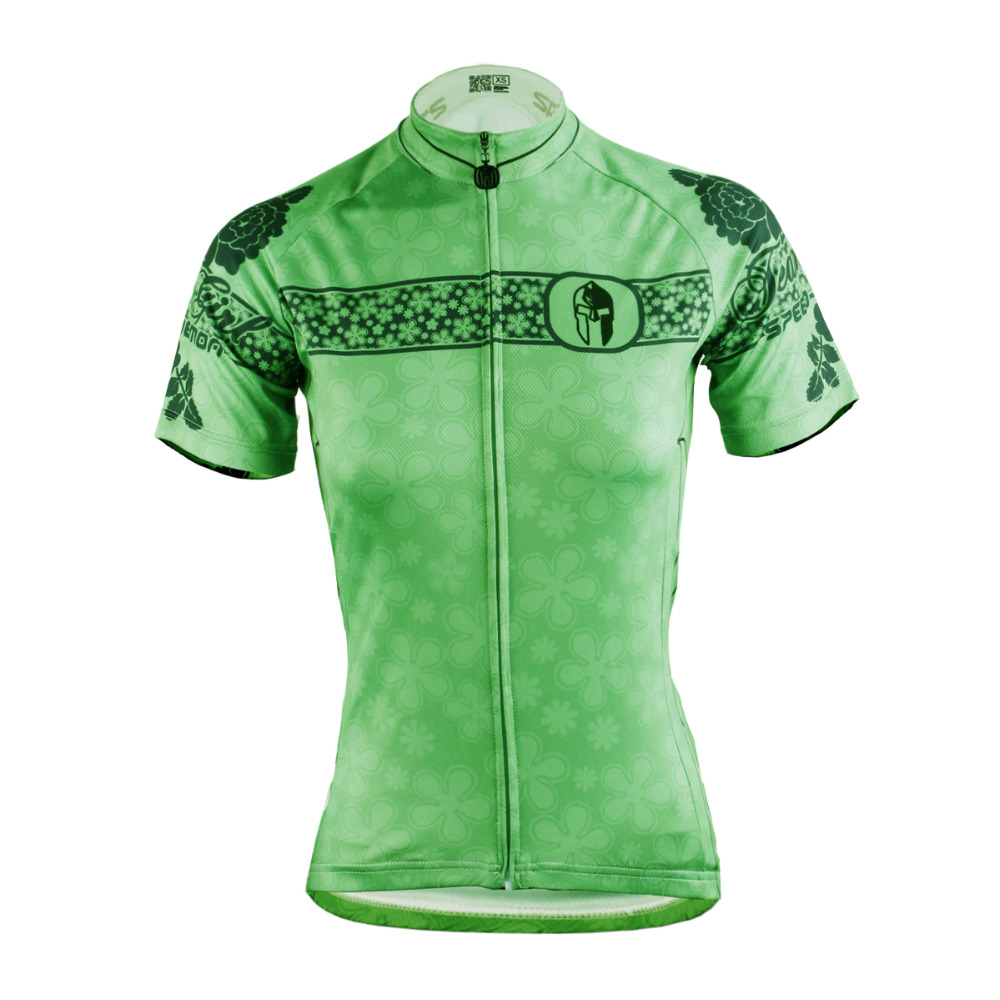 2016 New Women top Sleeve Cycling Jersey hot Breathable bike top Green Breathable Cycling Clothes Size XS To 6XL ILPALADIN 2016 new men s cycling jerseys top sleeve blue and white waves bicycle shirt white bike top breathable cycling top ilpaladin