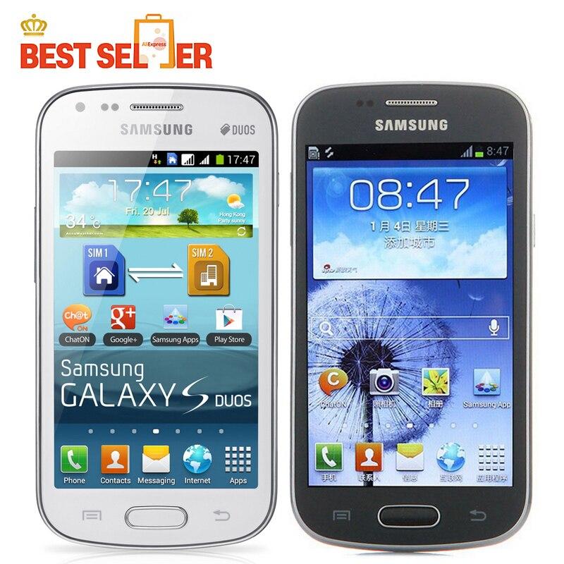 Цена за Разблокирована оригинальный разблокирована samsung galaxy s duos s7562 мобильный телефон 4.0 ''экран 3 г, wifi, gps 5mp 4 ГБ dual sim сотовый телефон