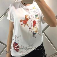 Высокое качество для женщин футболка 2018 мультфильм футболки для мужчин черная брендовая Летняя Белый Топ