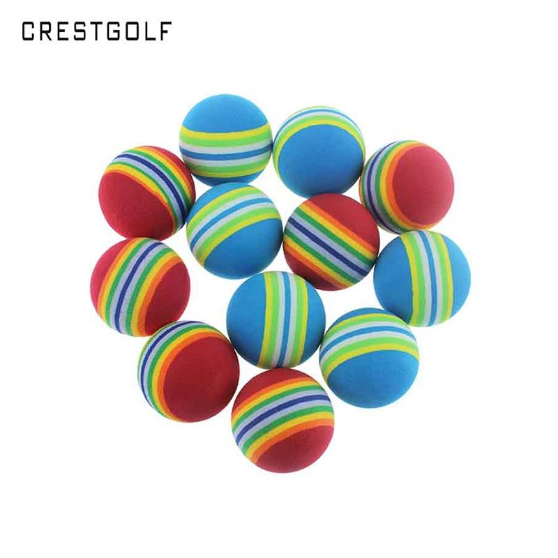 CRESTGOLF 50pcs Per Packs Rainbow PU Foam Golf Practice Balls Sponge Balls Training Aid Swing Backyard Golf Balls