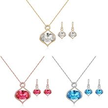 2Pcs Oval Crystal Drop Earrings Necklaces Jewelry Sets Wedding For Women