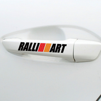 4pcs RALLI ART Car Door Handle Sticker Decal Auto Sports Ralliart For mitsubishi lancer asx outlander pajero galant accessories image