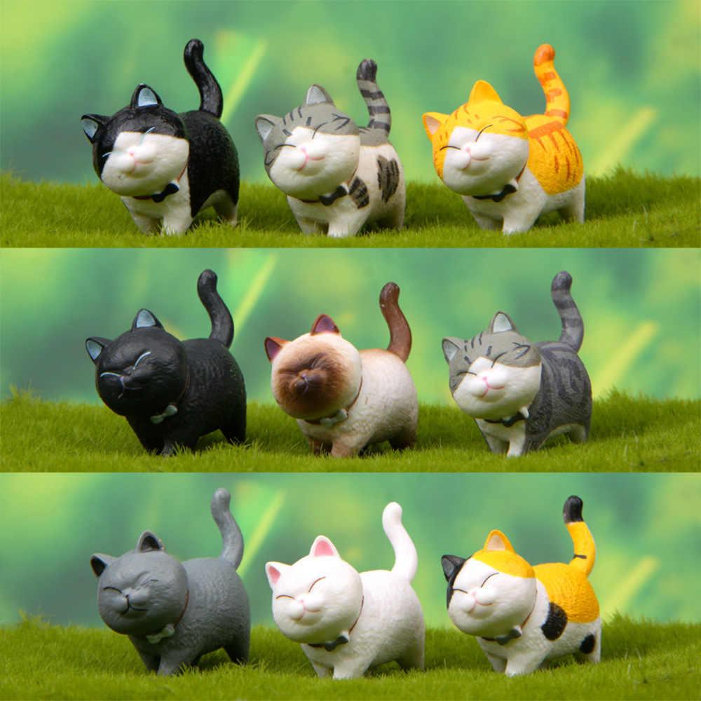 Japanese winking cat Resin Craft Cute Miniature Figurine Plant Pot Fairy Resin Hand-painted Mini Animal Fairy Garden Decor