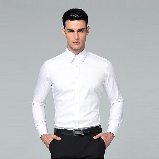Men's Shirt 2018 Brands Long Sleeve Business Suits Shirts Solid ...