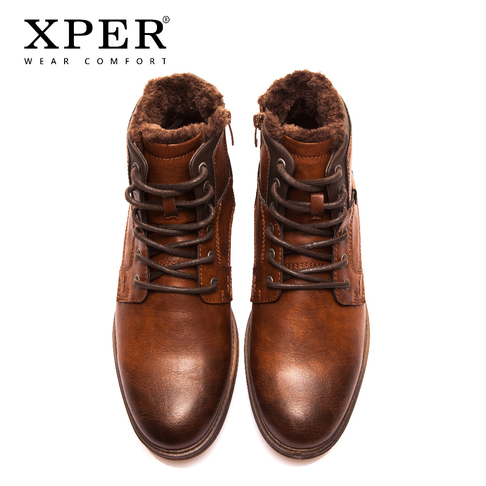 Xper Autumn Winter Fashion Men Boots Vintage Style Casual Men Shoes High Cut Lace Up Warm Plush