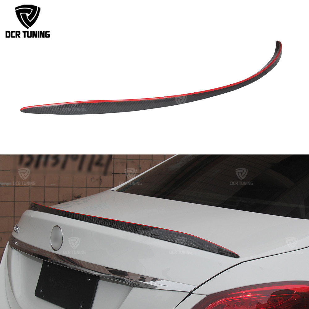 For Mercedes W205 Carbon Spoiler 4-Door Sedan C63 style C180 C200 C250 C260 Carbon Fiber Rear Trunk Spoiler With Red Line 2014+ for mercedes w205 spoiler r style sedan c class c180 c200 c250 c260 w205 carbon fiber rear spoiler rear trunk wing styling 2014