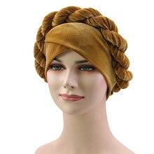 2019 New Velvet Muslim Hat Women Twisted Braid Turban Cap  Chemotherapy Bandanas Female Headwear Hair Accessories Headscarf