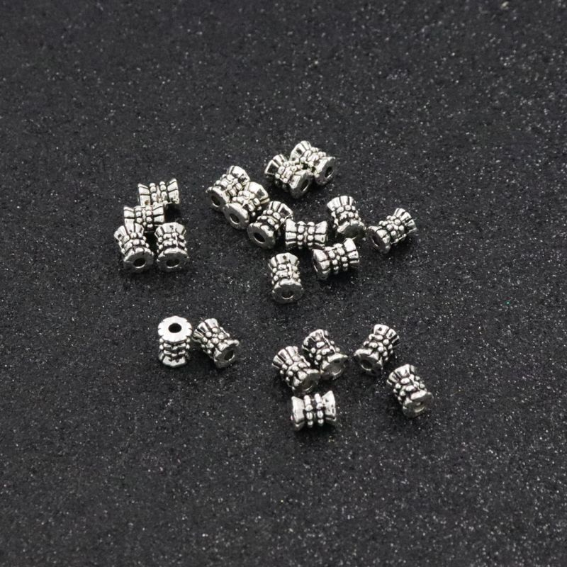 30Pcs Size 6mm Hole 1 5mm Antique Silver Loose Spacers Metal Sead Beads For Jewelry Making Handmade Bracelet DIY Accessories in Beads from Jewelry Accessories