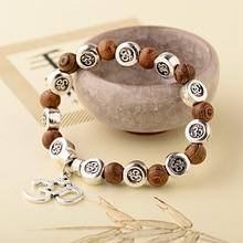 OIQUEI 8mm Natural Wood Buddha Bracelet Men Handmade Charms Sliver OM Beads Yoga Chakra Mala Prayer Bracelet Meditation Jewelry