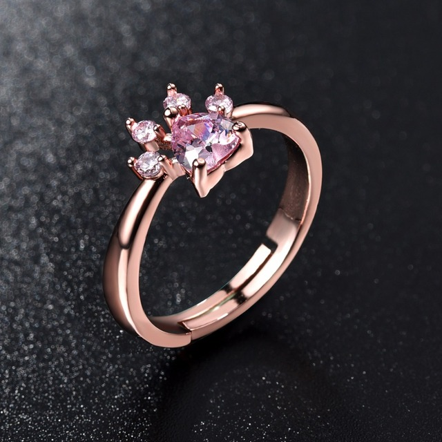 Cute Bear Paw Cat Claw Opening Adjustable Ring Rose Gold