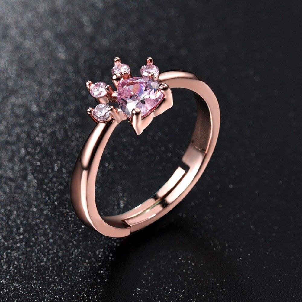 Cute Bear Paw Кошачий коготь открытие Регулируемый кольцо из розового золота Кольца для Для женщин Романтический свадебный розовый кристалл CZ Любовь Подарки ювелирные изделия