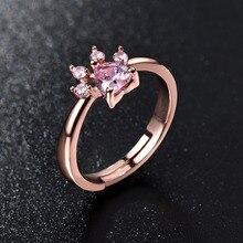 Lindo pata de oso garra gato apertura ajustable anillo anillos de oro rosa para las mujeres boda romántica rosa de cristal CZ regalos de amor joyería
