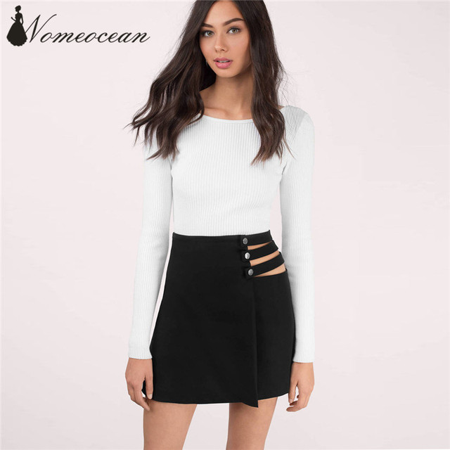 6cb1a8fdc5 Buckle Button Strap Hollow Out Mini Skirt Side Cut Out Bandage A-line Skirt  2017 Summer New Arrival Wrapped Skirt M17071112