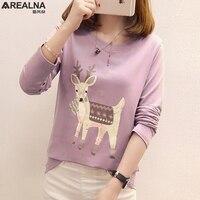 Autumn Women T Shirt Kawaii Christmas Deer Print Tee Shirt Long Sleeve Winter Basic Plain T