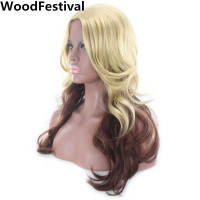 WoodFestival Blonde Brown Wig Wavy Long Synthetic Wigs For Black Women Ombre Hair Heat Resistant Fiber