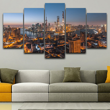 Home Decoration HD Printed Painting Posters Frame 5 Panel Beautiful City Night Landscape Modern Wall Art Pictures Living Room гиффорд б любовный поединок роман