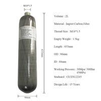 AC102 2L Carbon Fiber Cylinder Pcp Hydrogel Balls Scuba Diving Tank Paintball Bottle Cover Oxygen Pressure Regulator Acecare