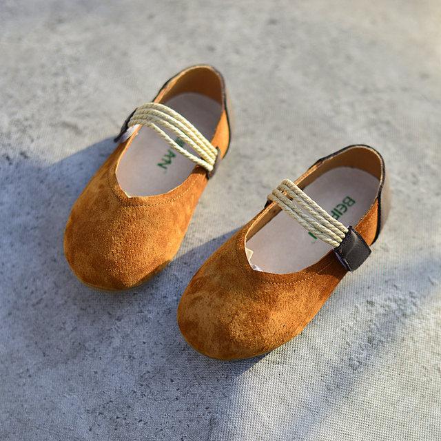 Baby Girls Moccasins Genuine Leather Soft Solid Color Vintage Style Kids Flats Hook Loop Children Shoes Spring Autumn Size 23-35